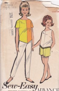 Advance 2872 V-poncho hem tops for girls mid-60s