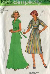 early 70s Simplicity 8025 boho maxi dress