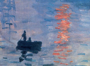 Monet Boat on Water Orange Sunset