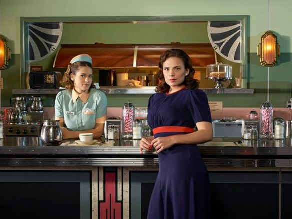 Agent Carter at Cafe in two tone dress from facebook