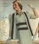 National Bella Hess catalog ad, 1938 color blocked tops and dress -cropped pic