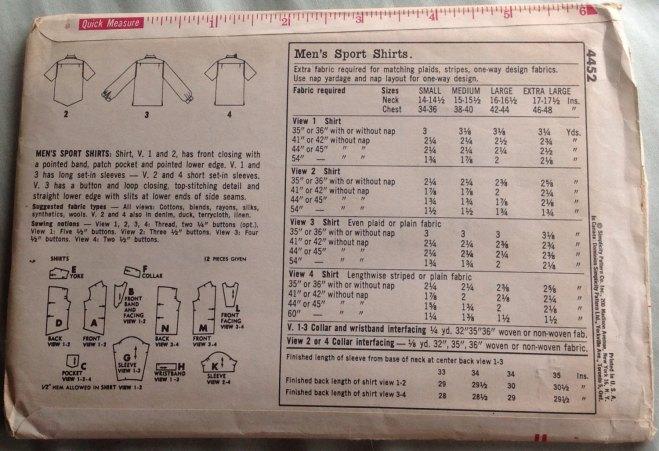 Simplicity 4452 mens 1953 shirts - envelope back
