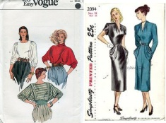 Vogue 8375 80's tops, Simplicity 2094 yr 1947