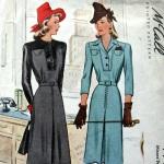 McCal 4998, yr 1942 contrast yoke bodice dress