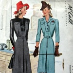 McCal 4998, yr 1942 contrast yoke bodice dress