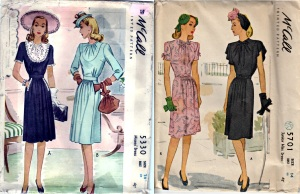 McCall 5330 yr 1943 dicky insert dress&McCall 5701 yr 1944 -combo