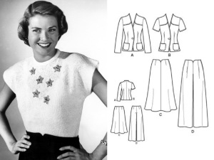 Grace Kelly teen model pic 1947 - line drawing for Simplicity 4044 reprint