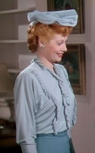 Lucille in blue ruffled blouse with Bud from Best Foot Forward movie - cropped pic
