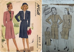 McCall 6019 two-piece bolero suit year 1945 - Advance 3964 suit set year 1945