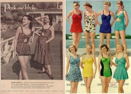 1947 Peck and Peck striped summer playsuit fashions advert & 1948 Pedigree Bathing Suits vintage catalog ad