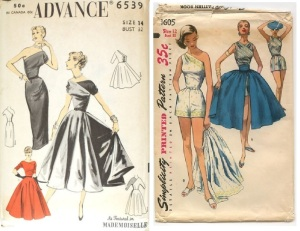 Advance 6539 1950s evening Gown in single shoulders - Simplicity 1605 1950s individual pieced playsuit