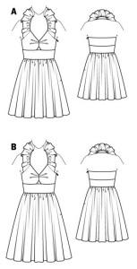 Burda Style Ruffled Halter Dress 4-2015 #111A line drawing