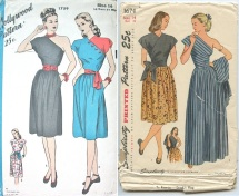 Hollywood 1759 yr 1945 with buttoned on shoulder piece & Simplicity 1674 yr 1946 one shoulder dress with tie on 2nd shoulder wrap