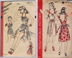 Hollywood 1778 yr1946 playsuit with cutout in front & Hollywood 1353 Pinafore dress yr1944