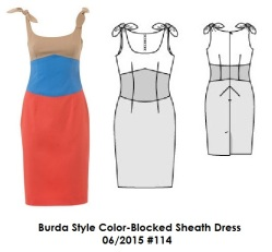 Burda Style Color Blocked Sheath Dress 6-2015 #114