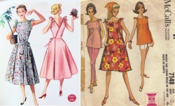 McCalls 3514 50's Bateau Neckline Tie Shoulders, Wrap Around Dress&McCall's 7148 from 1960s
