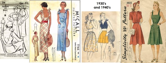 New York #238 30s sundresses-McCall 7746 yr1939 button front sundress with tie shoulders-40s Mail order playsuit-Simplicity 3833 yr1941