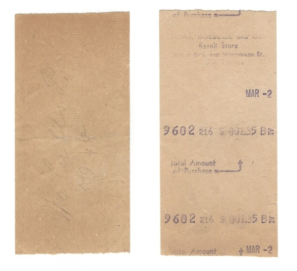 Sears store receipt - back & front-comp