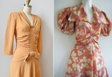 1930s-early 40s yellow ruched dress & Dogwood Floral runched mid-30s dress