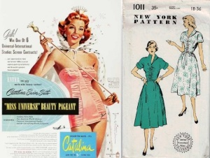 1950's Miss Universe ad for Catalina brand pink ruched swimsuit&New York #1011 1950's pattern