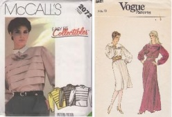 McCall's #2072 pleated blouse & Vogue #8451 pleated bodice dress from 1980s