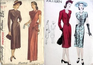 Simplicity 2230 yr 1947 ruched day or evening dress&Vogue #9691 1940s dress w sweetheart neck, shirred front