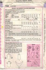 Simplicity 7353 yr 1976 pattern back from my M-I-L