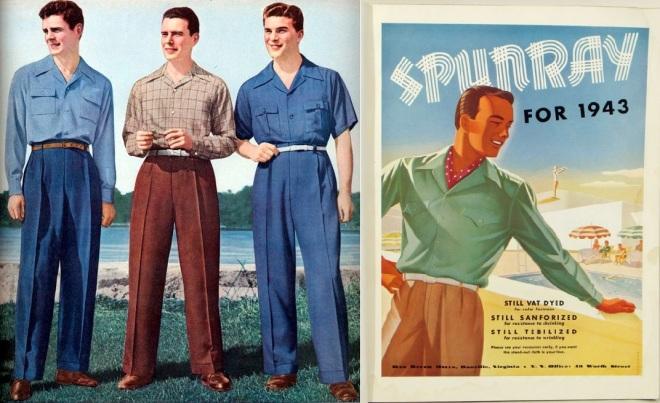 1943 mens fashion-magazine ad & Spunrayon shirts