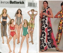Butterick 4526 yr 1995 swimsuits and sarong wrap&1971 halter wrap sundress ad in directional fabric