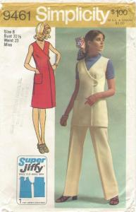 Simplicity 9461, year 1971, Jiffy dress or tunic or jumper & pants-comp