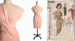 vintage 1980's twisted front polka dot dress&Simplicity 4228 year 1962