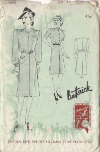 Butterick #1192, year 1941 pattern cover-comp