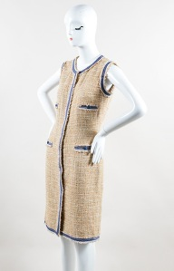 Chanel Tan and Blue Cotton Tweed Sleeveless Zip Front Sheath Dress, spring of 2009