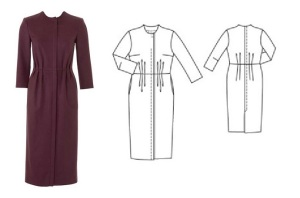 Retro Wool Dress #128, 01-2016, dress pic with line drawing