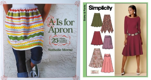 Simplicity 4883, full & half circle skirts, yr 2004, with A is for Apron book