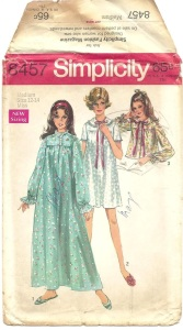 Simplicity 8457, year 1969 nightgown and bed jacket pattern