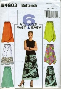 Butterick 4803 border print & front overlay skirts