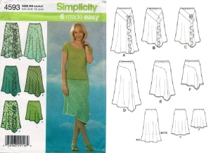 Simplicity 4593 skirts-envelope front and line drawing