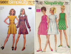 Simplicity 9861 yr 1972 pleated bodice dress with yoked chest, Simplicity 7633 yr 1968 inverted pleated bodice dress
