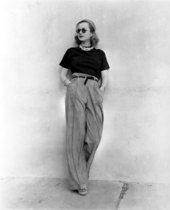 Joan Bennet 1940's in pants with sweater and sunglasses