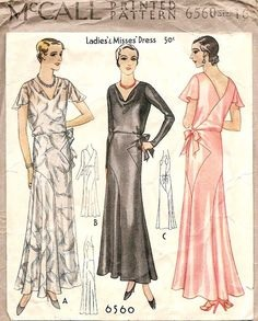 McCall #6560 year 1931 Vionnet style facy gown