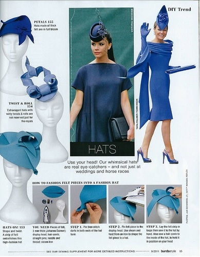 Burda Style sept 2011 DIY hat ideas