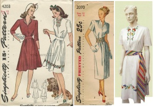 Simplicity #4203 & #2070, Walford book's 1939 Mexicali dress