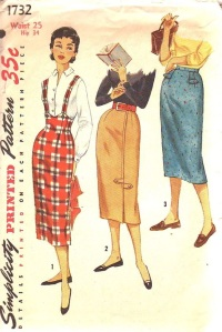 simplicity-1732-year-1956-teen-slim-skirts-front-cover
