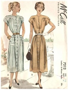 McCall 7212, year 1948 day dress,p