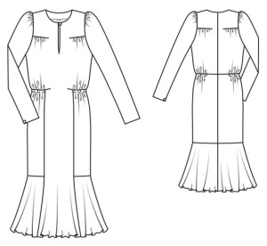 #112 Gather and Tuck dress, line drawing