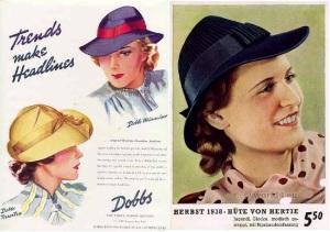 1938 Dobbs womens hat trends make headlines & German 1938 vintage millinery ad