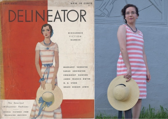 Delineator 1931, front cover-comp,w, & my tank dress pic