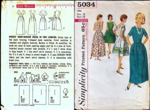 Simplicity 5034, ca. 1963, the wrap-around dress, combo