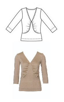 Burda Style V-Neck Jersey Shirt, 06-2010 #108, line drawing & garment example